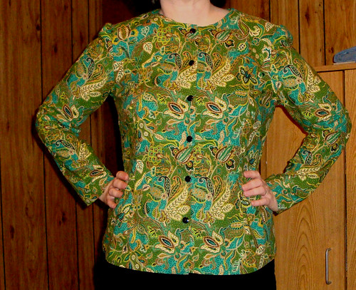 Green and teal blouse