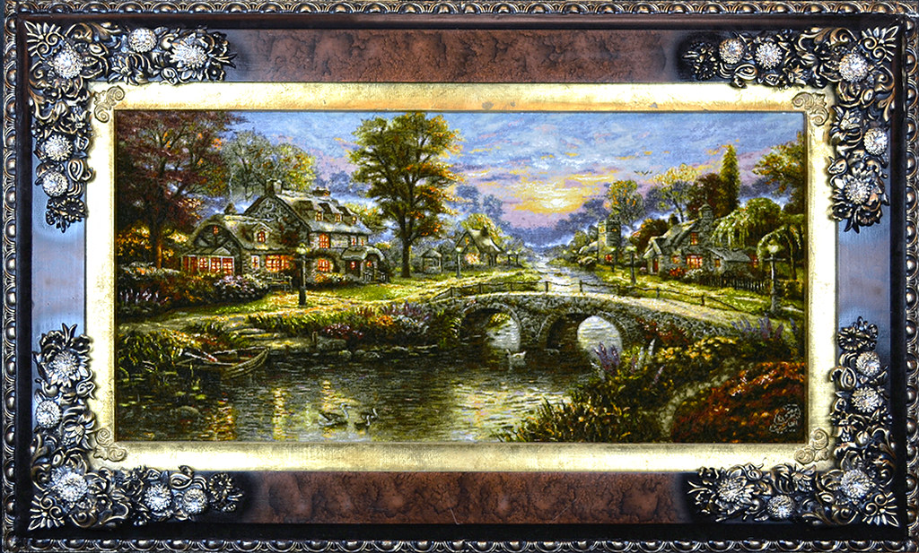 tableau-hand-made-persian-rug-thomas-kinkade-green-valley