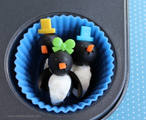 Muffin Tin Monday olive penguins with cream cheese