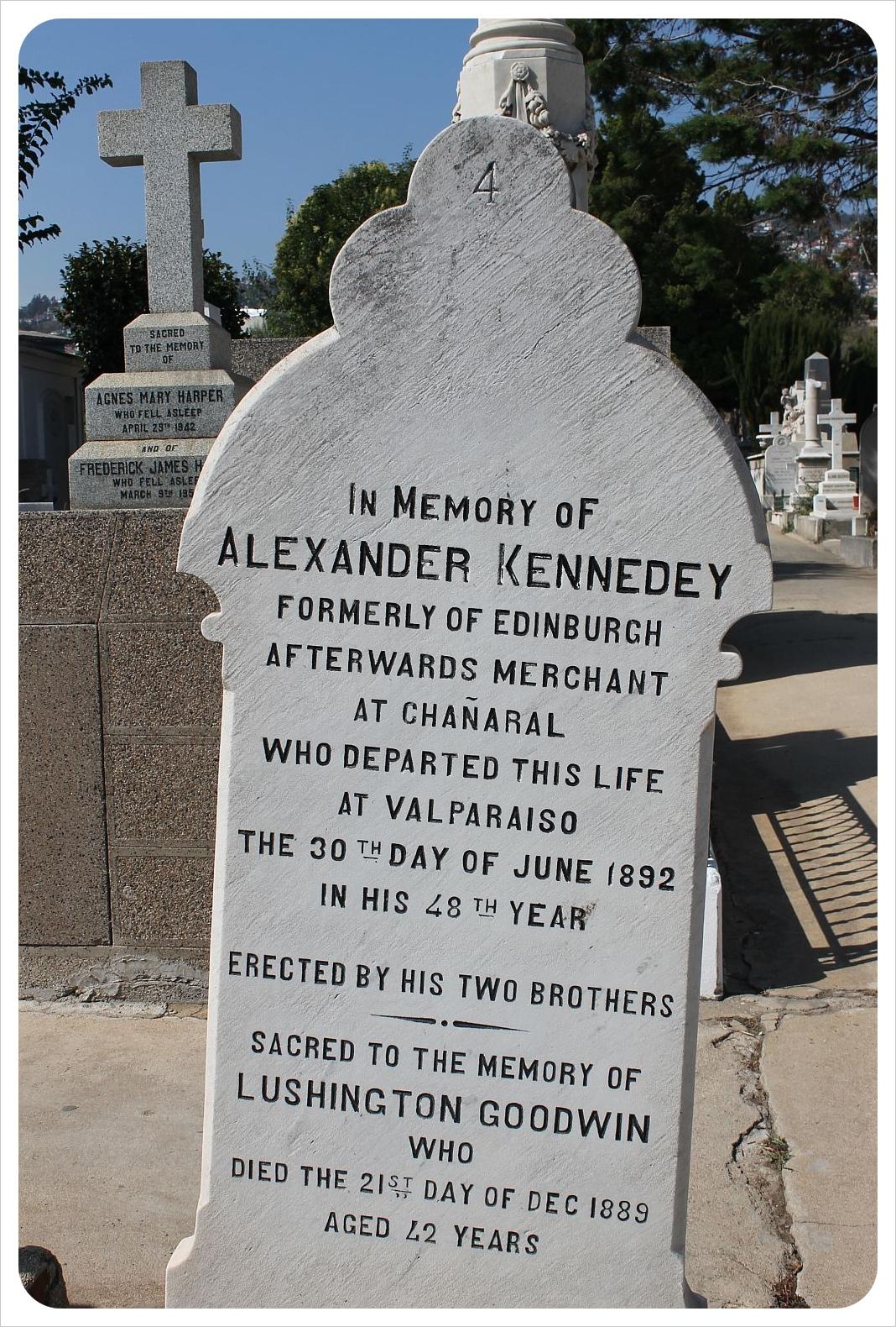 valparaiso cemetery scottish grave