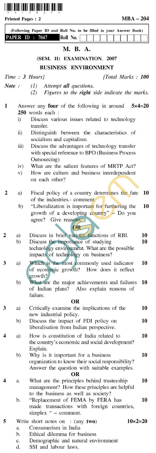 UPTU MBA Question Papers - MBA-204-Business Environment