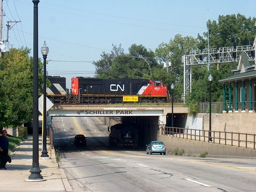 Northbound Canadian National freight train waiting on a hold order.  Schiller Park Illinois.  September 2006. by Eddie from Chicago