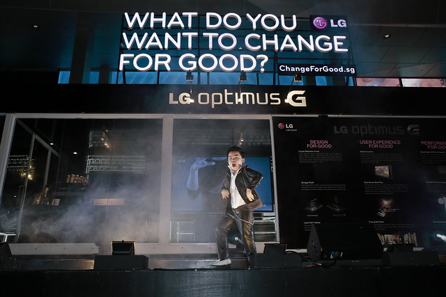 Little Psy performing his original song, Showtime,  at the opening of LG's G-Café