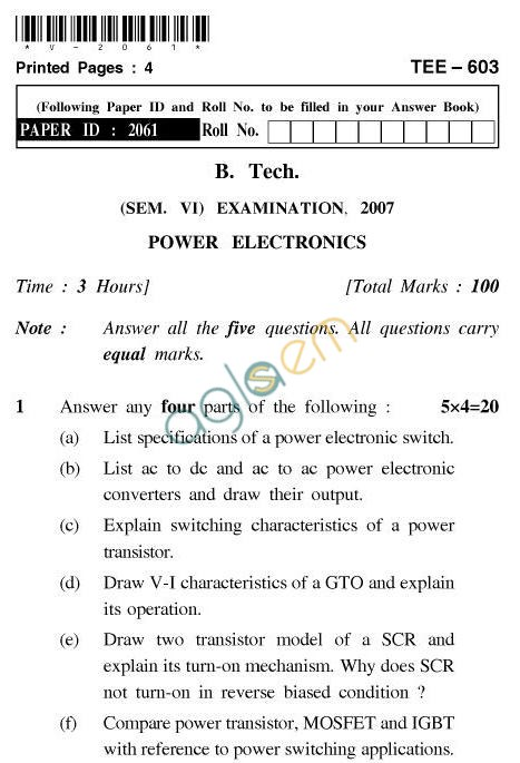 UPTU B.Tech Question Papers - TEE-603-Power Electronics