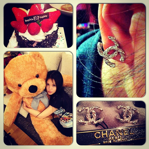 My birthday gifts. Got one more cake didn't manage to capture on my phone. *touched*  #birthday #bigteddy #birthdaygirl #teddy #giantteddy #gift #present #chanel #earrings #chanelearrings #baskinrobbins #cake #icecreamcake #dessert #sinful #sweettooth #sw