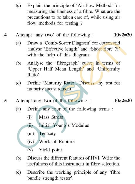 UPTU B.Tech Question Papers - CT-405(N) - Statistics & Textile Testing-I