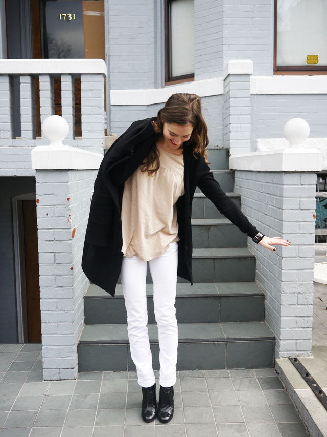 my fair vanity, black trench, white jeans, style blog, neutral for spring 2013 3