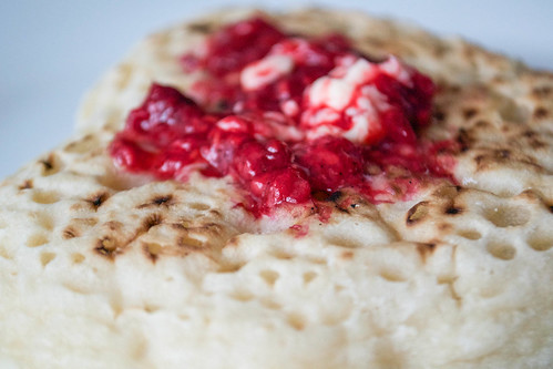 mothers day crumpets with raspberry and vanilla butter