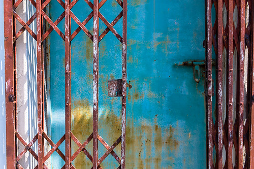 Rusted metal gate at old Tiong Bahru Estate