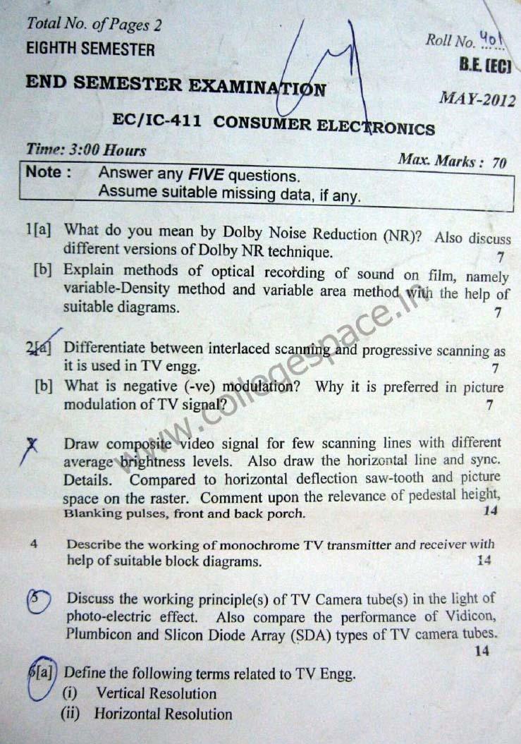 NSIT Question Papers 2012 – 8 Semester - End Sem - EC-IC-411