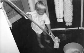 Cleaning the floor for Mum
