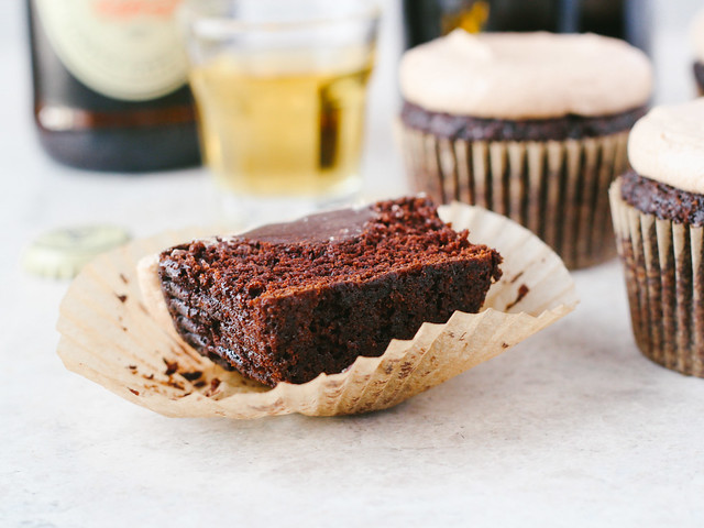 Chocolate stout cupcakes with Irish whiskey ganache + Irish cream frosting