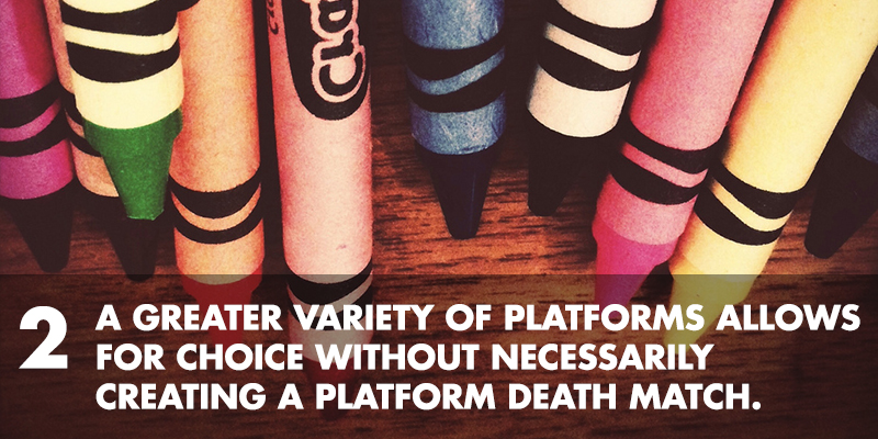 2. A greater variety of platforms allows for choice without necessarily creating a platform death match.