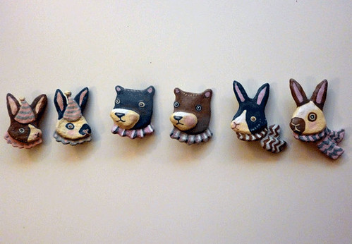 Paper mache animal brooches