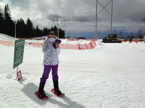 Snowshoeing with Grace on Hollyburn