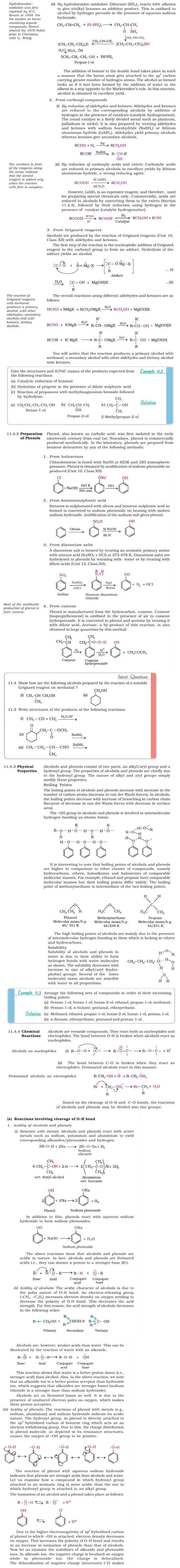 NCERT Class XII Chemistry Chapter 11 - Alcohols, Phenols and Ethers