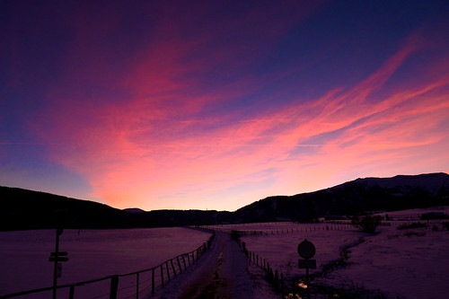 winter sunset sky snow austria purple montains