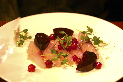 mulet, red currants, beets
