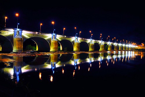 Nightview of Pont Wilson, Tours -  central of France
