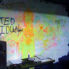 "Wall at Yard Party Studios. Presumably, ""Indivated Motavidual"" and ""Monster Biter"" are band names. The place has history. I find it just as interesting as the caves at Lascaux."