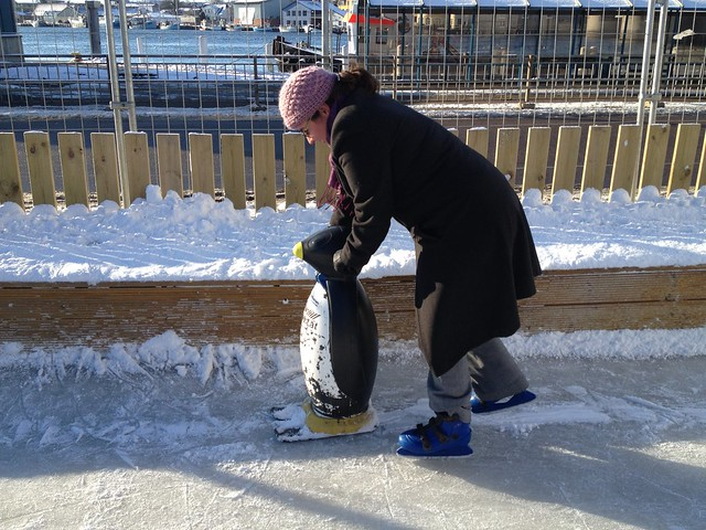 Ann with a Penguin to guide her on skates