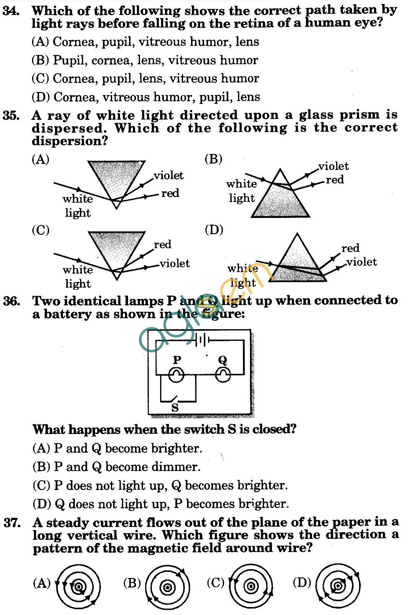 NSTSE 2010: Class X Question Paper with Answers - Physics