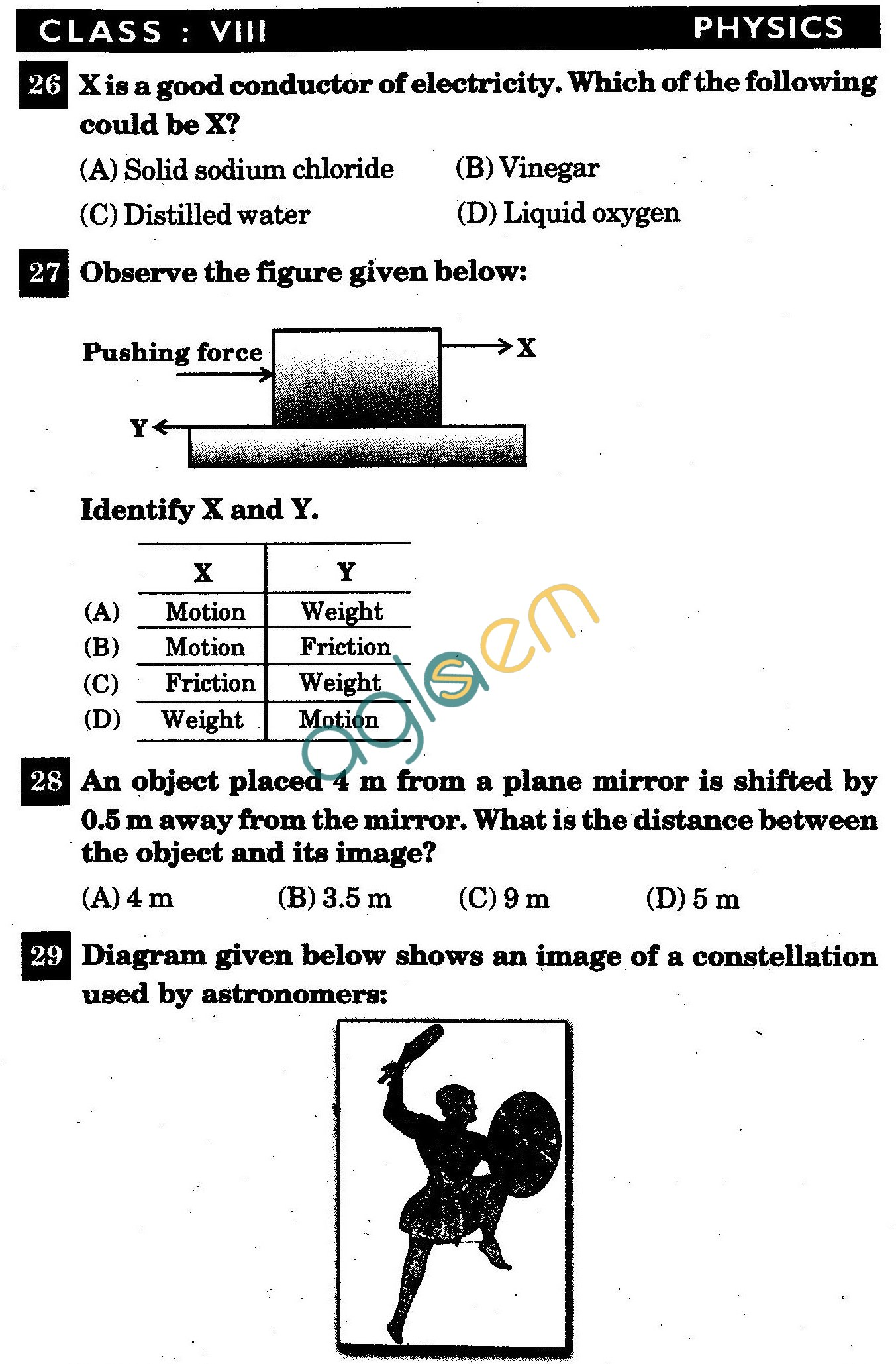 NSTSE 2011 Class VIII Question Paper with Answers - Physics