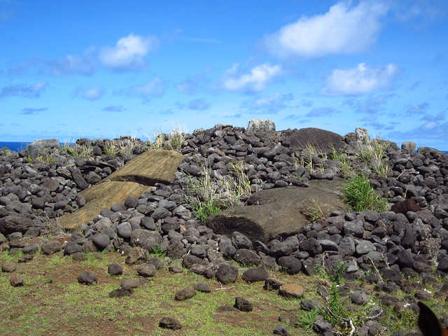 Fallen Moai at an Ahu on the North Coast of Rapa Nui