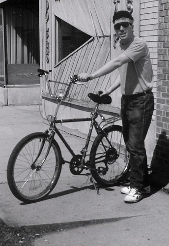 A 27 year old Eddie K enjoying a weekend bike ride in Chicago's Westlawn neighborhood on West 63rd Street.  Chicago Illinois.  April 1989. by Eddie from Chicago