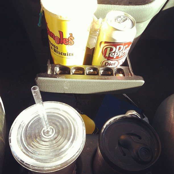 All 4 are mine and from today. Apparently I'm indecisive! Unsweetened Bojangles tea, Diet Dr. Pepper, water, and Chai tea.