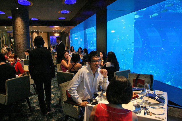 One side of the restaurant gives you a magnificent oceanarium view