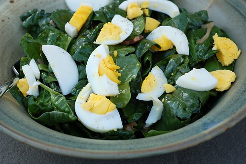 Warm spinach salad by Eve Fox, Garden of Eating blog, copyright 2013