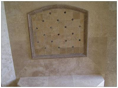Travertine tile and granite accents
