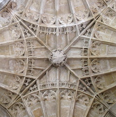 "A central boss and detail of the fan-vaulted ceiling, the ""New Building"" (c.1500), Peterborough Cathedral, Peterborough, England"