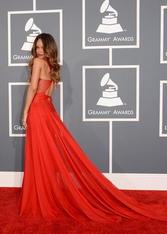 Rihanna Red Grammy Dress