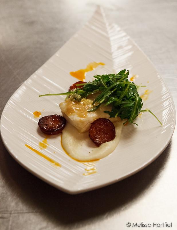 miso glazed poached halibut with chorizo and pasrnip