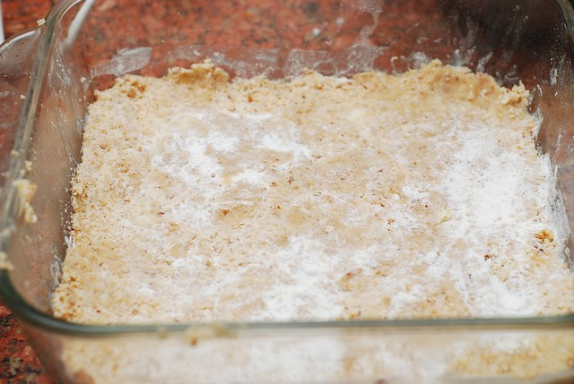 Press half of the dough onto the bottom of the baking pan