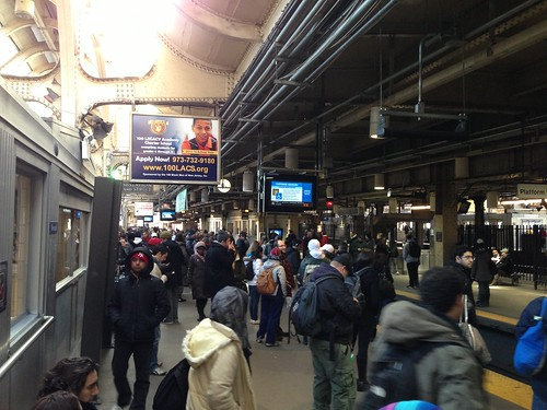 The gathering crowd at Newark Penn Station