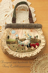Handmade and hand applique sunbonnet sue vintage pouch
