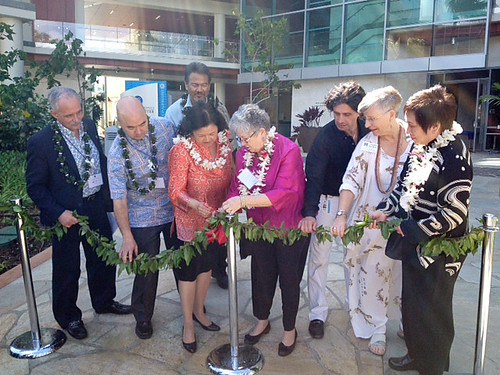 <p>Irene Hirano Inouye helped University of Hawaii President M.R.C. Greenwood untie the maile lei at the University of Hawaii Cancer Center is blessing.  From left, UH Manoa Chancellor Tom Apple, Ken Inouye, Irene Hirano Inouye, UH President M.R.C. Greenwood, UH Cancer Center Director Michele Carbone, former UH Manoa Chancellor Virginia Hinshaw and U.S. Representative Colleen Hanabusa.</p>