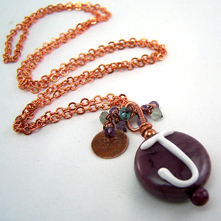 Personalized Necklace with Initial Lampwork and Gemstone Cluster