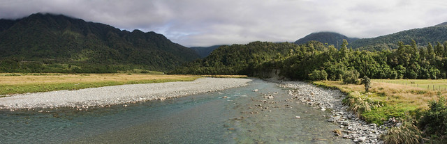 Arahura Valley, looking towards the cloud covered Southern Alps, Milltown, West Coast, New Zealand.