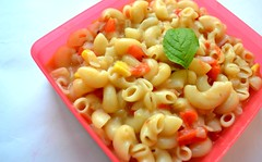 vegetable(0.0), produce(0.0), rotini(0.0), pasta salad(1.0), vegetarian food(1.0), pasta(1.0), macaroni(1.0), food(1.0), dish(1.0), cuisine(1.0),