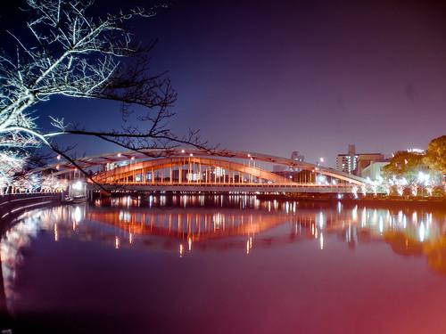 bridge light red reflection japan night river lumix landscapes osaka nightview gf2
