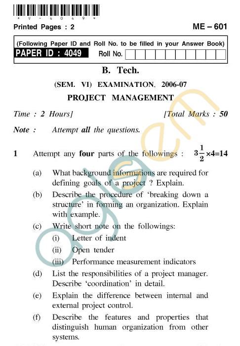 UPTU: B.Tech Question Papers - ME-601 - Project Management