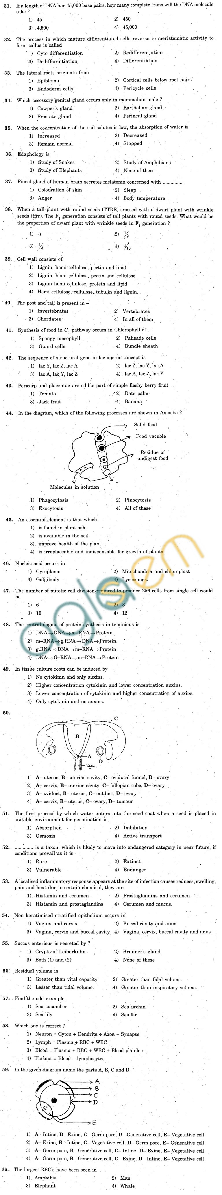KCET 2007 Question Paper - Biology