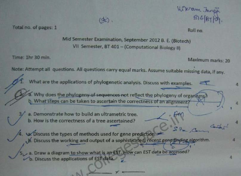 NSIT Question Papers 2012 – 7 Semester - Mid Sem - BT-401