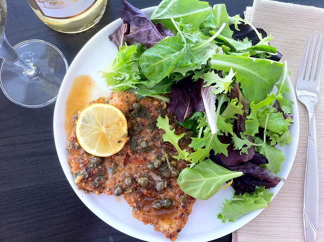 Breaded Chicken Piccata with Lemon Caper Sauce