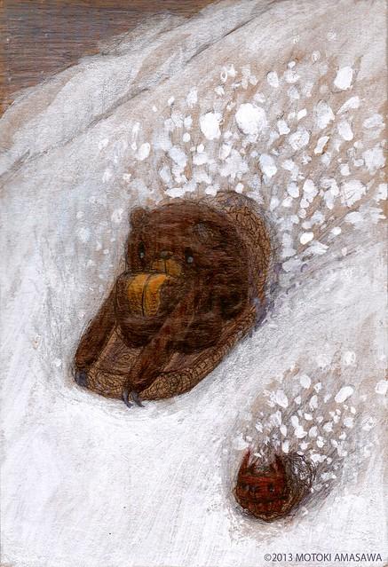 一枚絵40_雪山でそりをするクマむー