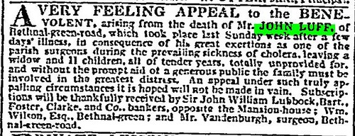 John Luff's death and appeal for money for the family 3 Oct 1833 The Times (London)